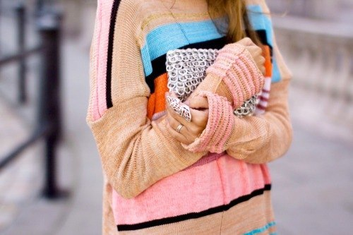 sweater, bag, colored, cute, vintage