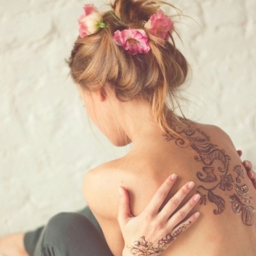 tattoo, flowers, hair, pink, girl