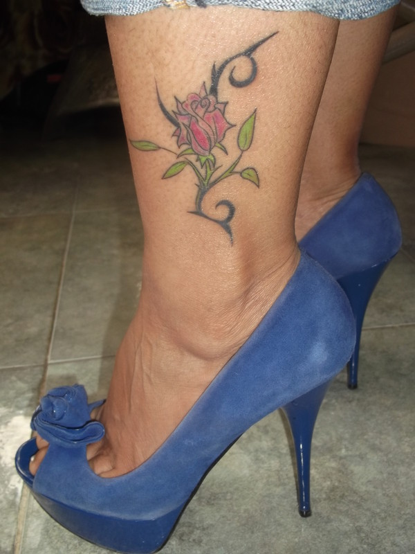 tattoo, rose, slippers
