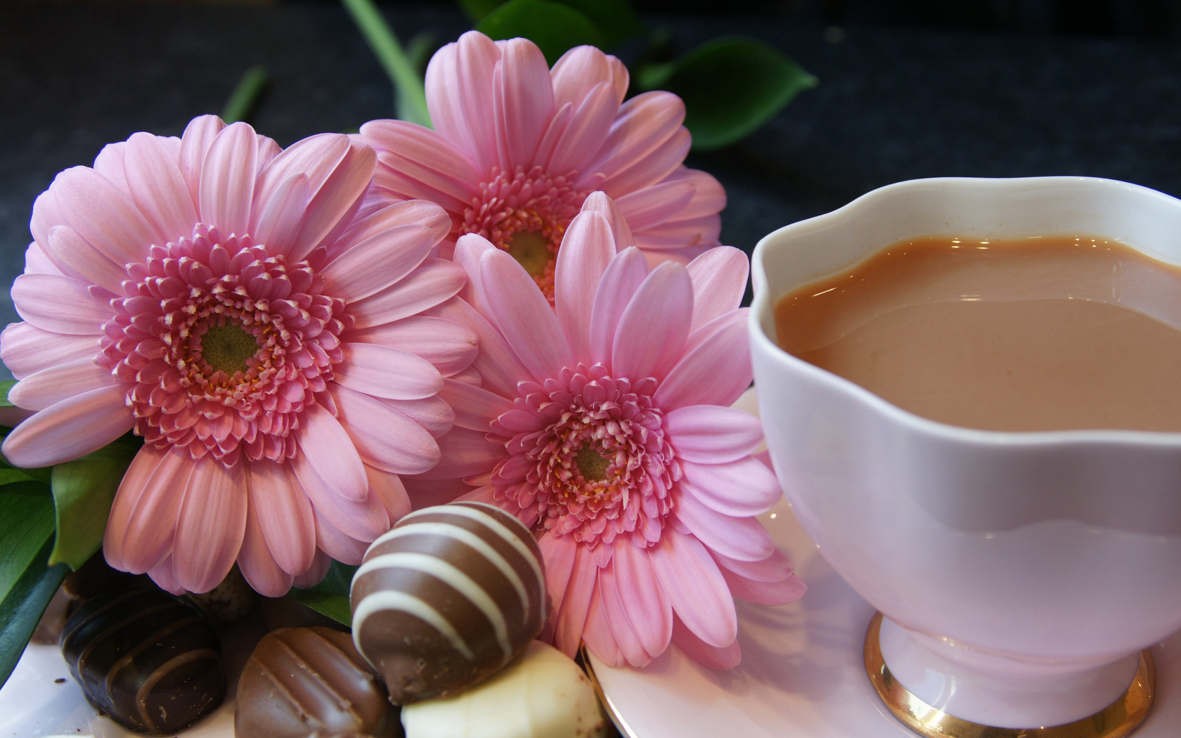 tea, milk, candy, flowers