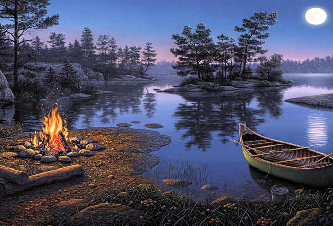 the moon, the lake, water, fire, picnic