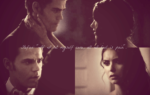 the vampire diaries, stefan salvatore, elena gilbert, pain, love