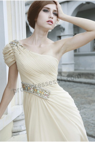 tiffany milky one-shoulder floor-length chiffon evening/bridesmaid dress(80508)