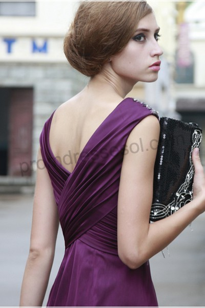 tiffany purple deep-v-neck spaghetti-straps ruched waistline floor-length chiffon evening dress-8051