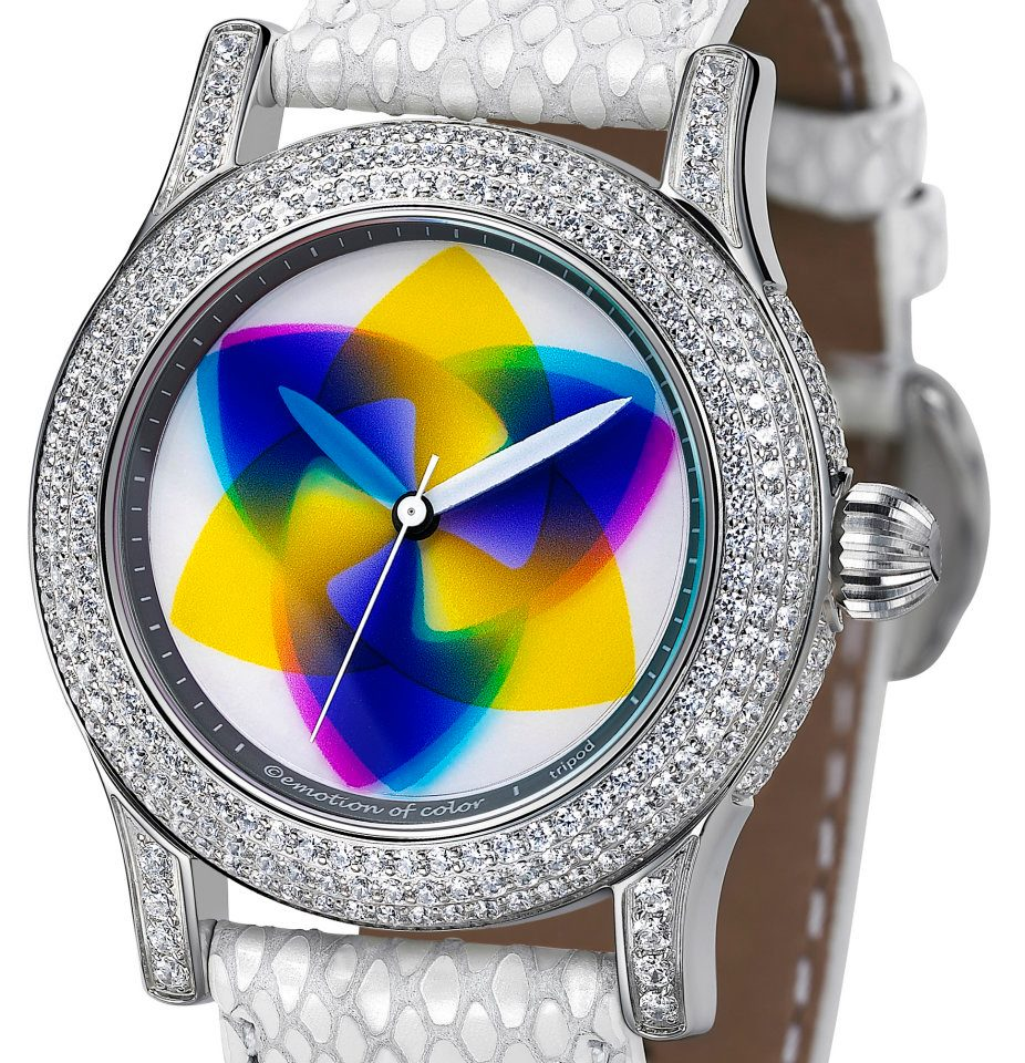 tripod rainbow watch extravaganza colors colours chameleon watch display