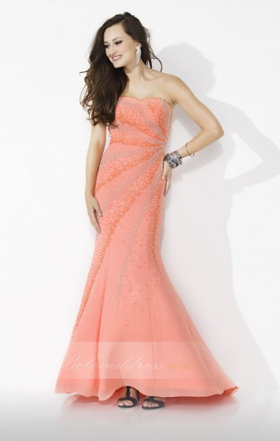 trumpet/mermaid strapless floor length poly chiffon prom dress