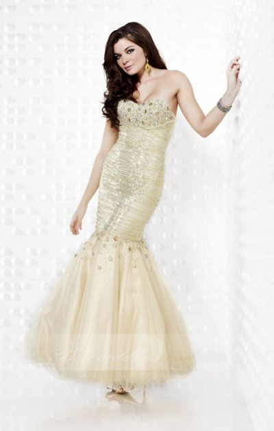 trumpet/mermaid sweetheart floor length net prom dress