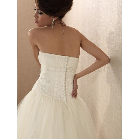 tulle ivory floor length strapless a line wedding dress