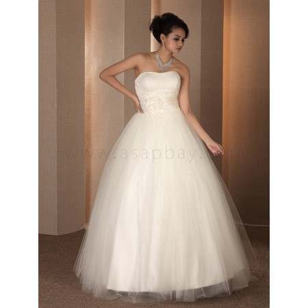 tulle ivory floor length strapless classic charming a line wedding dress
