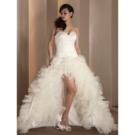 tulle ivory sweep/brush train sweetheart a line wedding dress