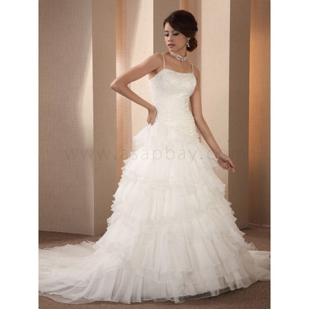 tulle white chapel train spaghetti strap a line wedding dress