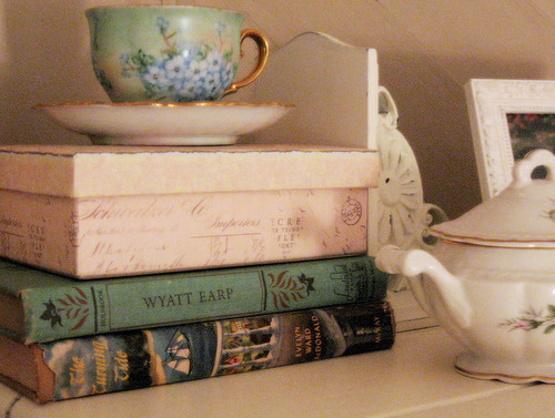 vintage, book, tea, pretty, teacup