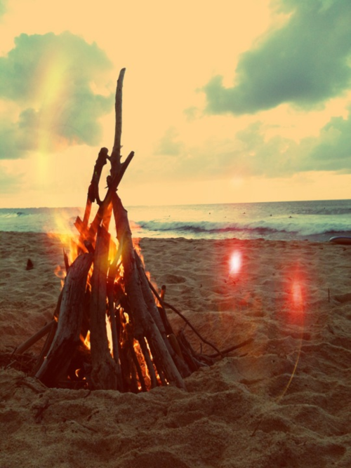 vintage, fire, beach, summer, surf