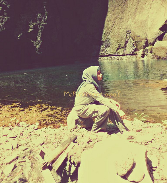 alone, beautiful, girl, glow, hijab, light, nature, nice, photograph, silent, stones, teen, thinking, vintage, water