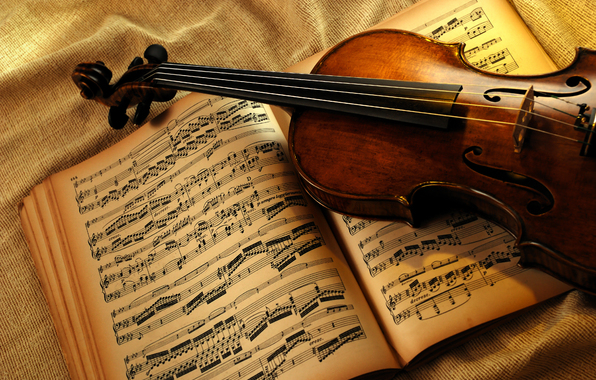 violin, sheet music, book