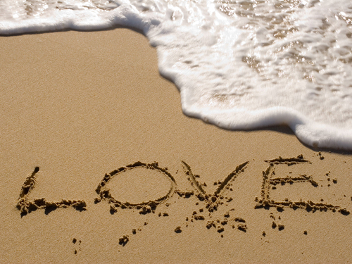 love, sand, water, wave