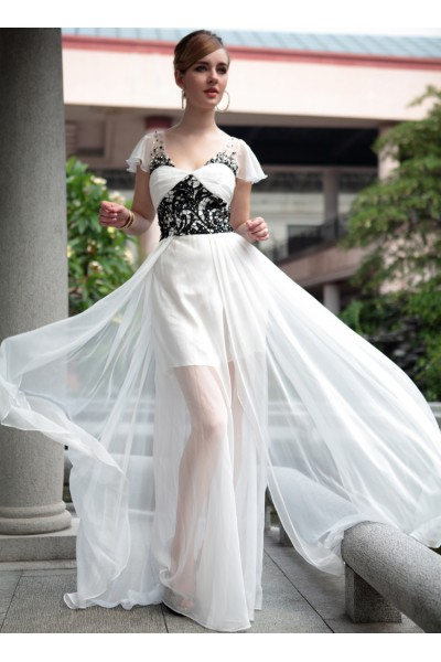 white cap-sleeve lace ruffles tencel short evening party dress s656