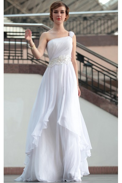 white one-shoulder applique art silk a-line homecoming evening dress s665
