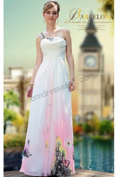 white print one-shoulder ruched chiffon evening prom dress s641