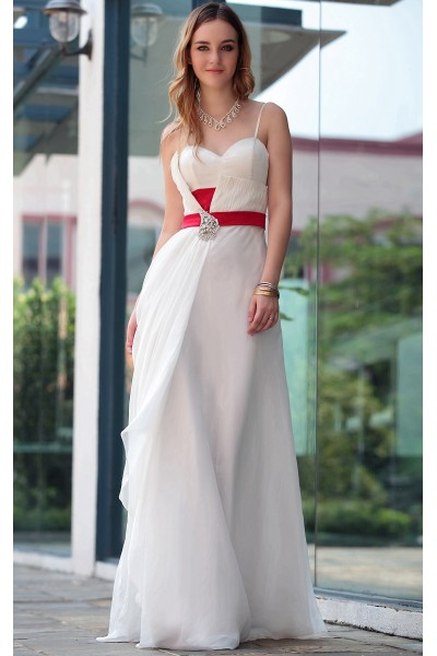white spaghetti strap sweetheart tencel ruched formal prom dress s616