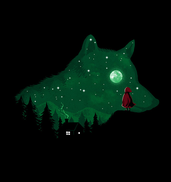 wolf, history, green, night, dark