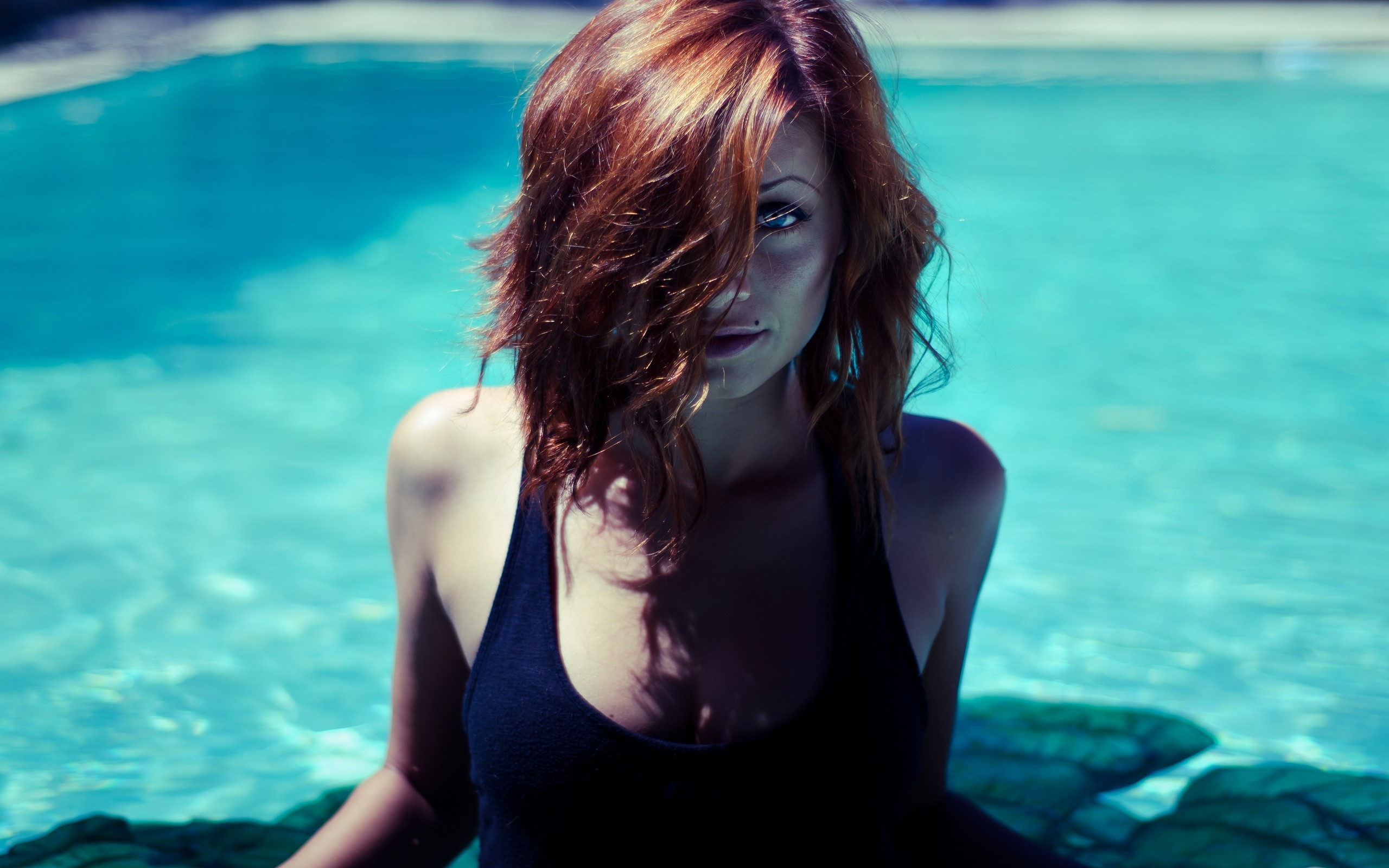 woman, beauty, water, hair