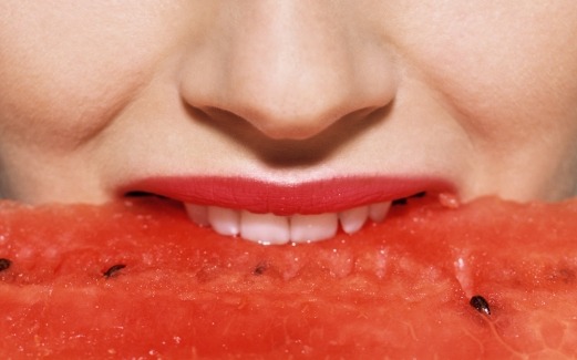woman, person, portrait, watermelon
