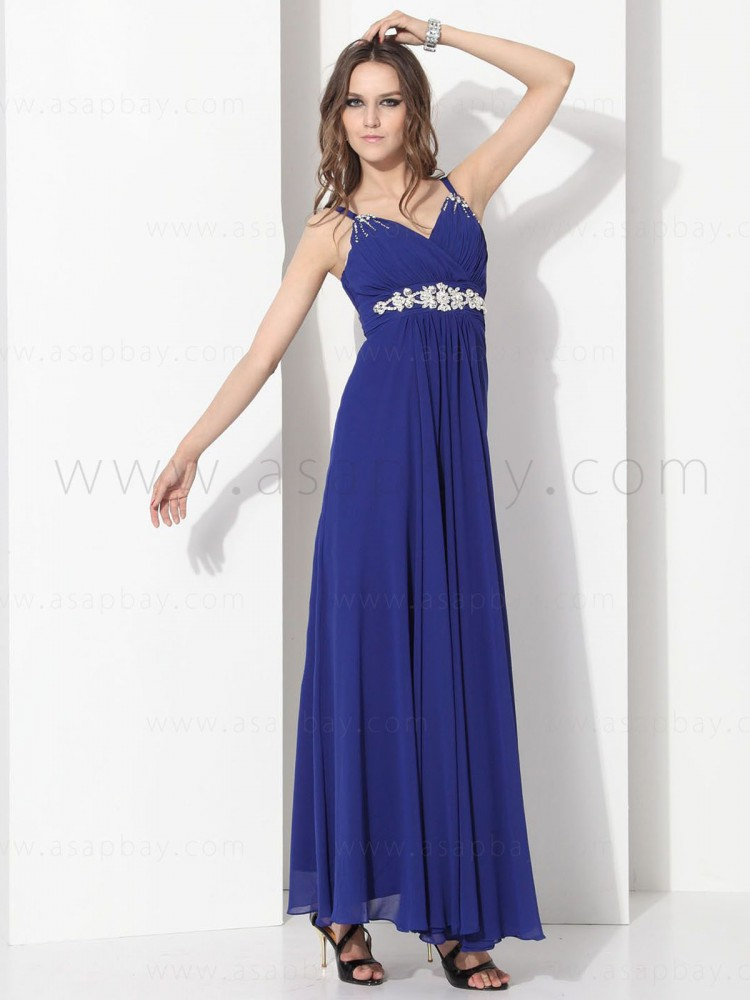 zipper draped elegant beaded sashes/ribbons chiffon spaghetti strap floor length pageant dress