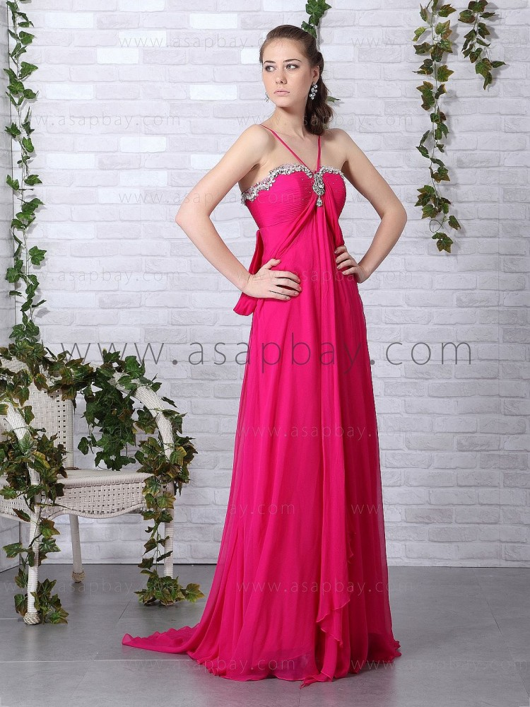 zipper draped elegant empire red floor length spaghetti straps sheath/column chiffon evening dress