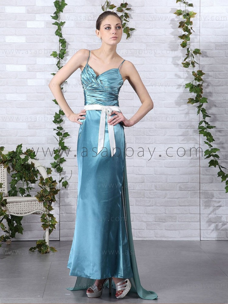 zipper sexy fashion cute blue spaghetti strap court train sheath column evening dress