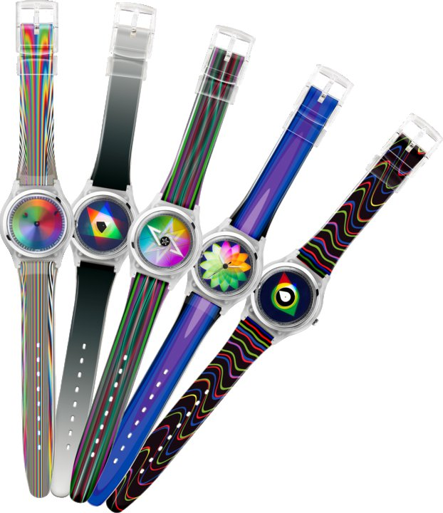 zpin rainbow watch colour changing dial colors display