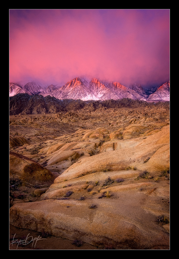 alabama hills, california, desert, eastern sierras, granite, high desert, lone pine peak, manly colors, ryan dyar, sierra nevadas, sunrise
