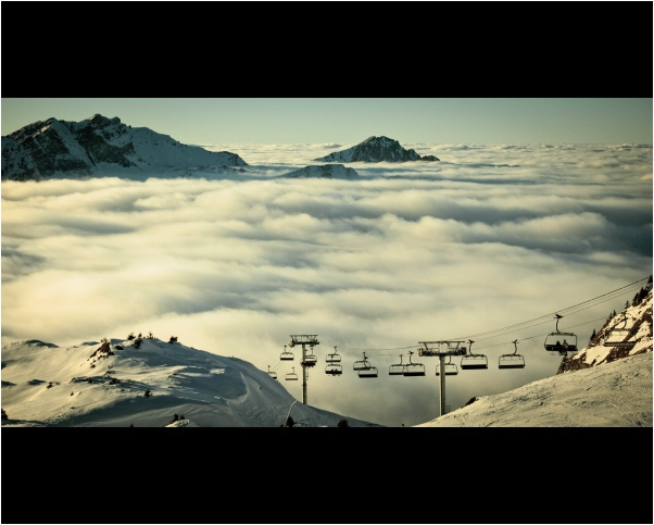 alps, clouds, chair, lift