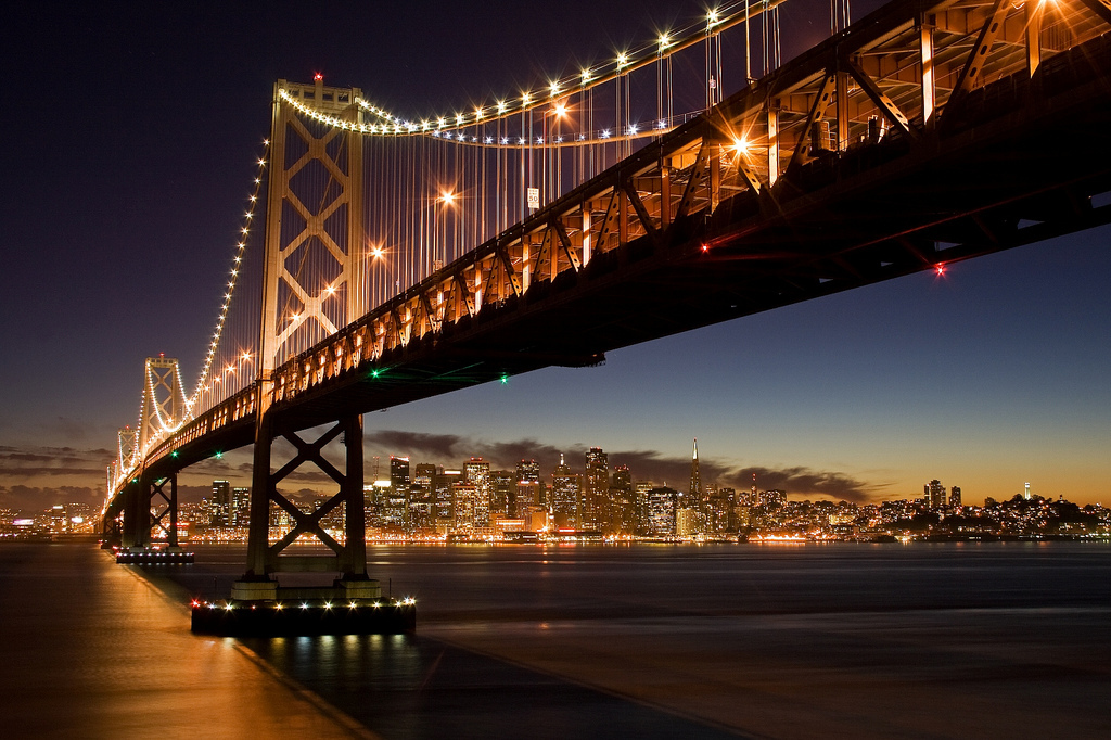 bay, bay bridge, bayarea, blue hour, bridge, california, canon, dusk, explored, flickr, interesting, interestingness, island, light, lights, long exposure, low light, night, oakland, san francisco, skyline, sunset, water, yerba buena
