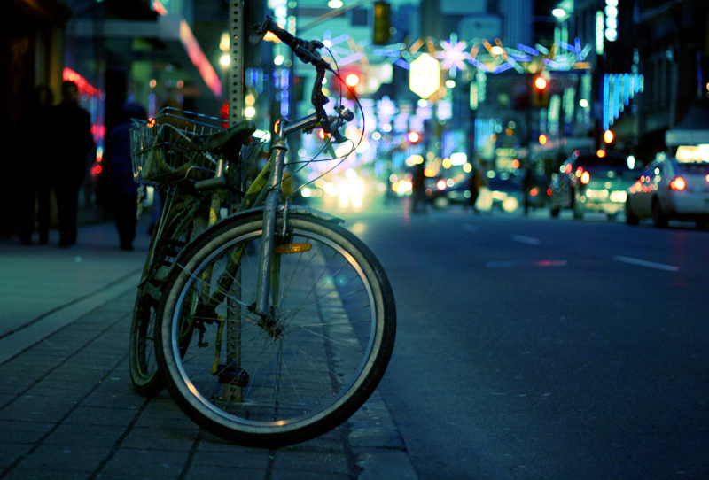 bicycle, bokeh, evening, night