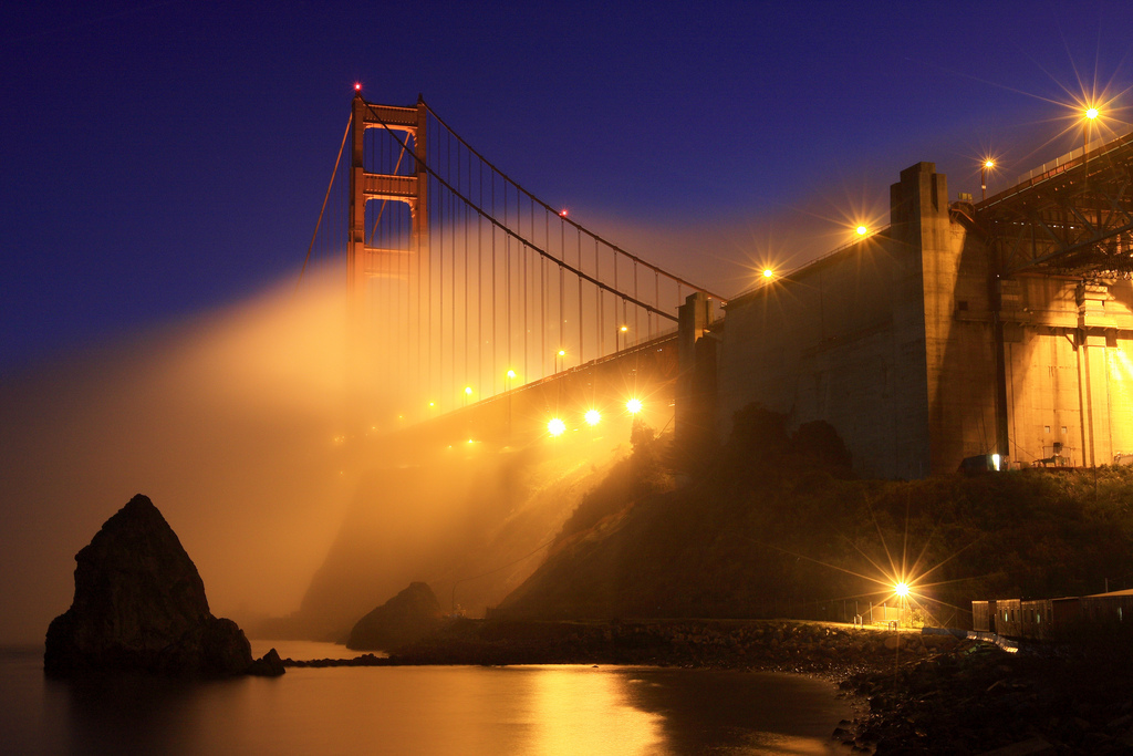 america, blue, bridge, ca, california, city, dusk, evening, fog, ggb, golden gate, golden gate bridge, hour, long exposure, night, san francisco, sf, twilight, urban, usa