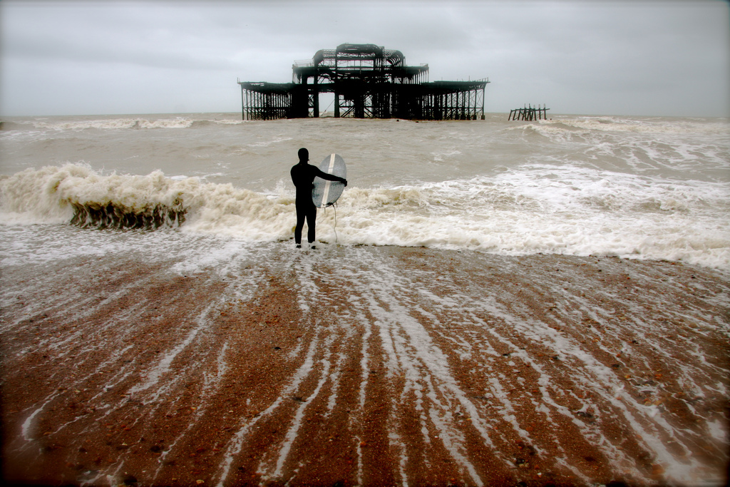 BRIGHTON, WEST PIER, SURFER, SEA