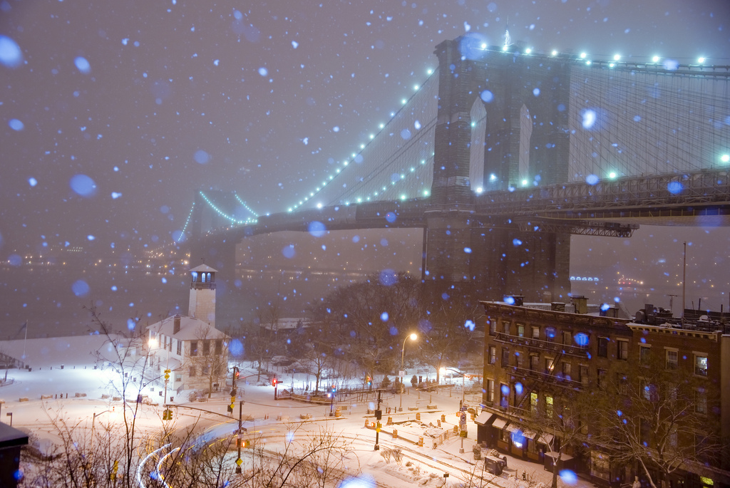 Brooklyn Bridge, Snow, Storm, Fulton Ferry