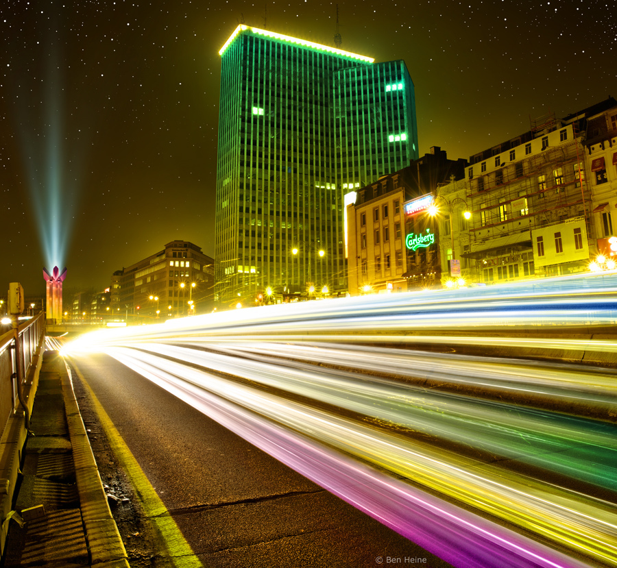 access, action, architecture, art, belgium, ben heine, blue, brussels, building, by night, car, cars, center, city, color, colorful, colors, consumption, cross, depth, drive, effect, efficacy, etoile, fast, forward, future, green, highway, illumination