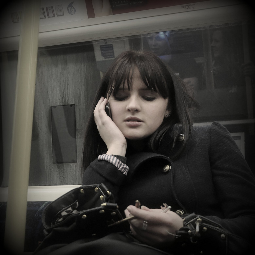 candid, cell phone, metro, subway