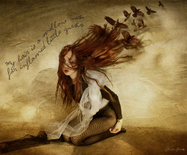 bird, conceptual, curl, departure, fairy-tale, hair, nest, red, story, surreal