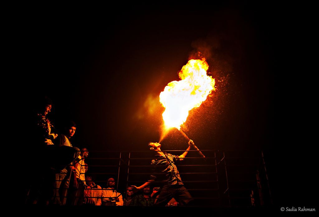 fire breathing, fire, old town, Dhaka
