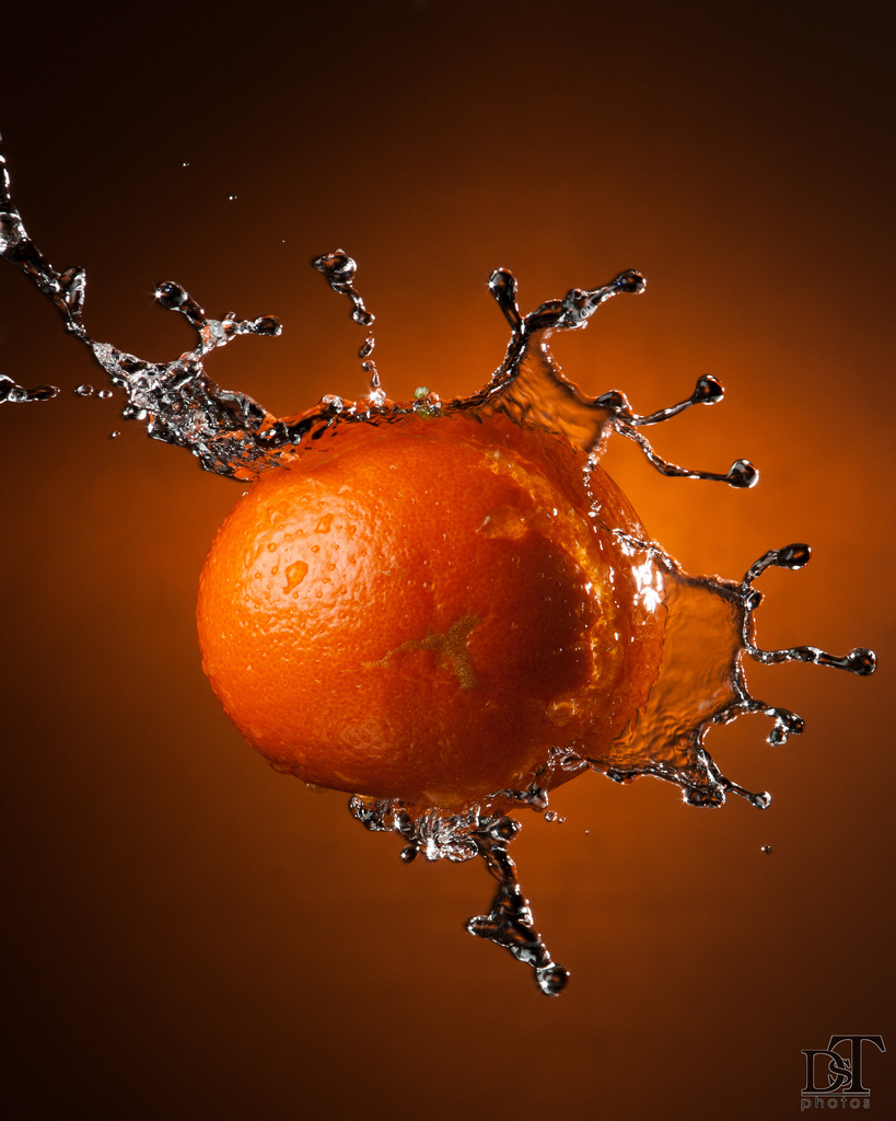 fruit, splash, tangerine, water