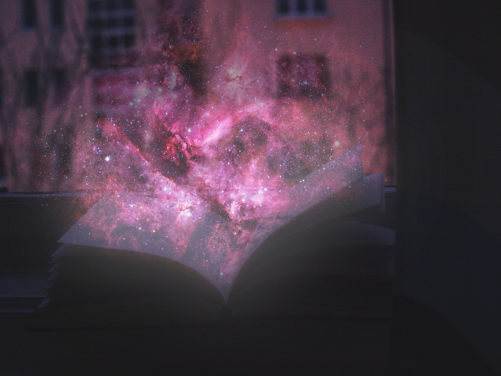 galaxy, nebula, book, new