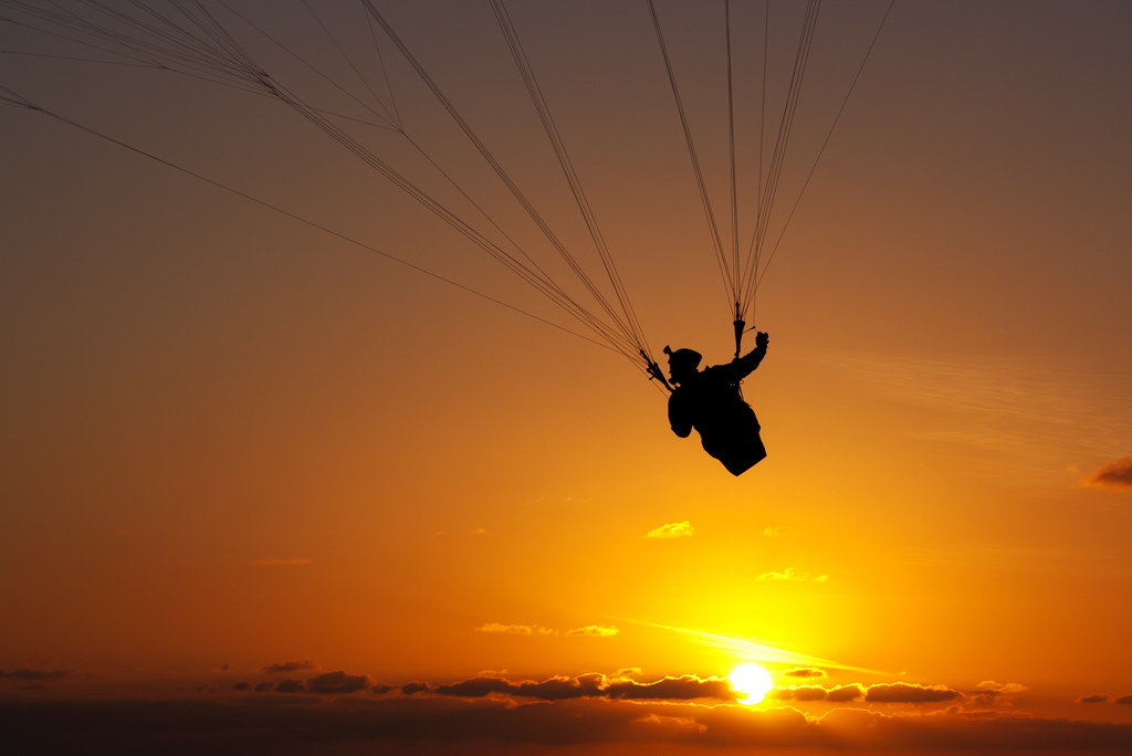 hang gliding, sunset, flying, la jolla