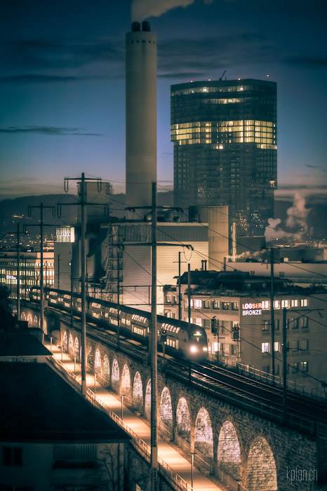 blue hour, bridge, city, clouds, hdr, houses, landscape, lights, prime tower, street, train, urban, viadukt s-bahn wettbewerb, zurich