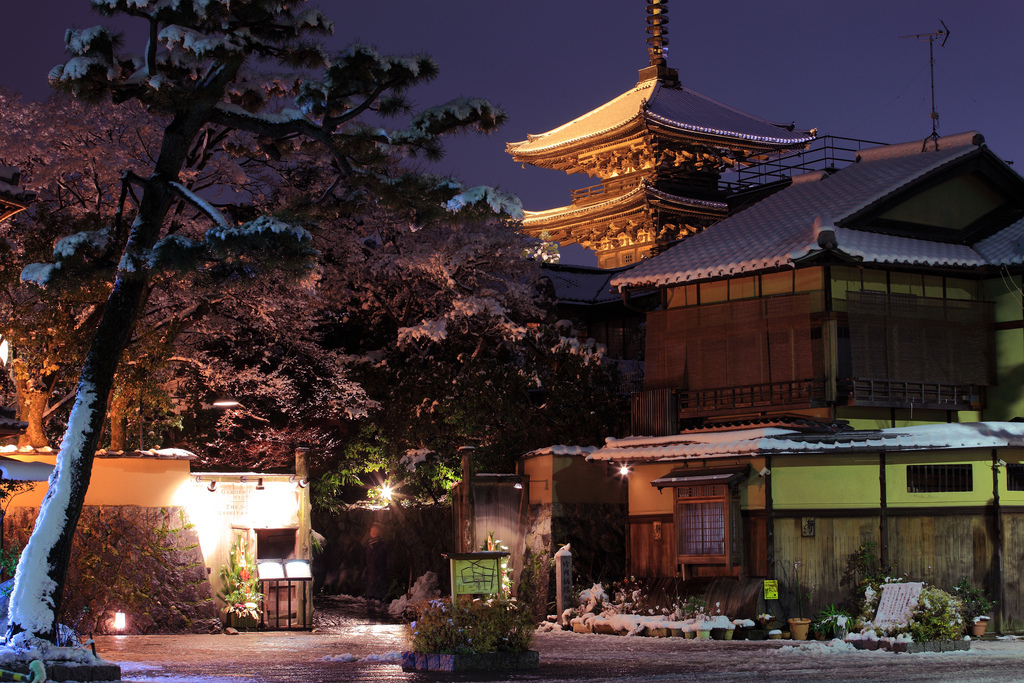 japan, kyoto, night, snow