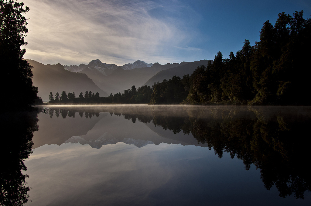 lake matheson, reflections, mount cook, new zealand