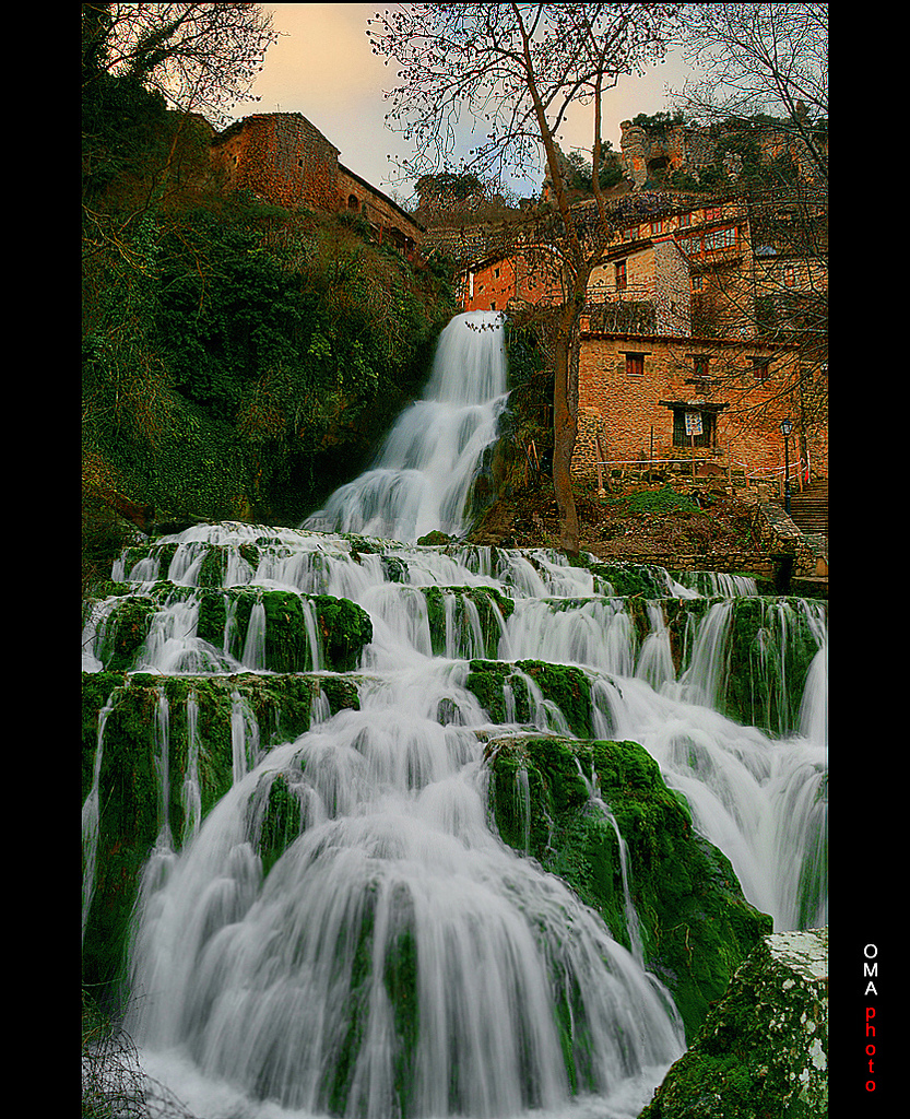 medieval, village, separated, waterfall