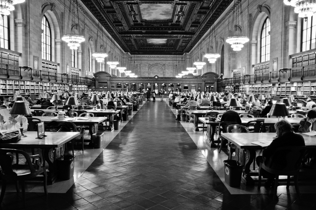 new york public library, reading room, architecture, indoors
